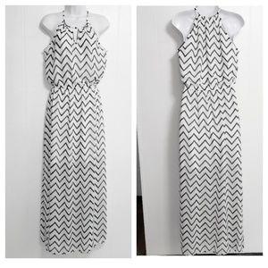 Gianni Bini Chevron Side Slit Halter Maxi Dress